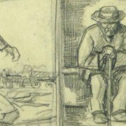 Drawing- Expressive Triptych, Circa 1930-detail-9212K