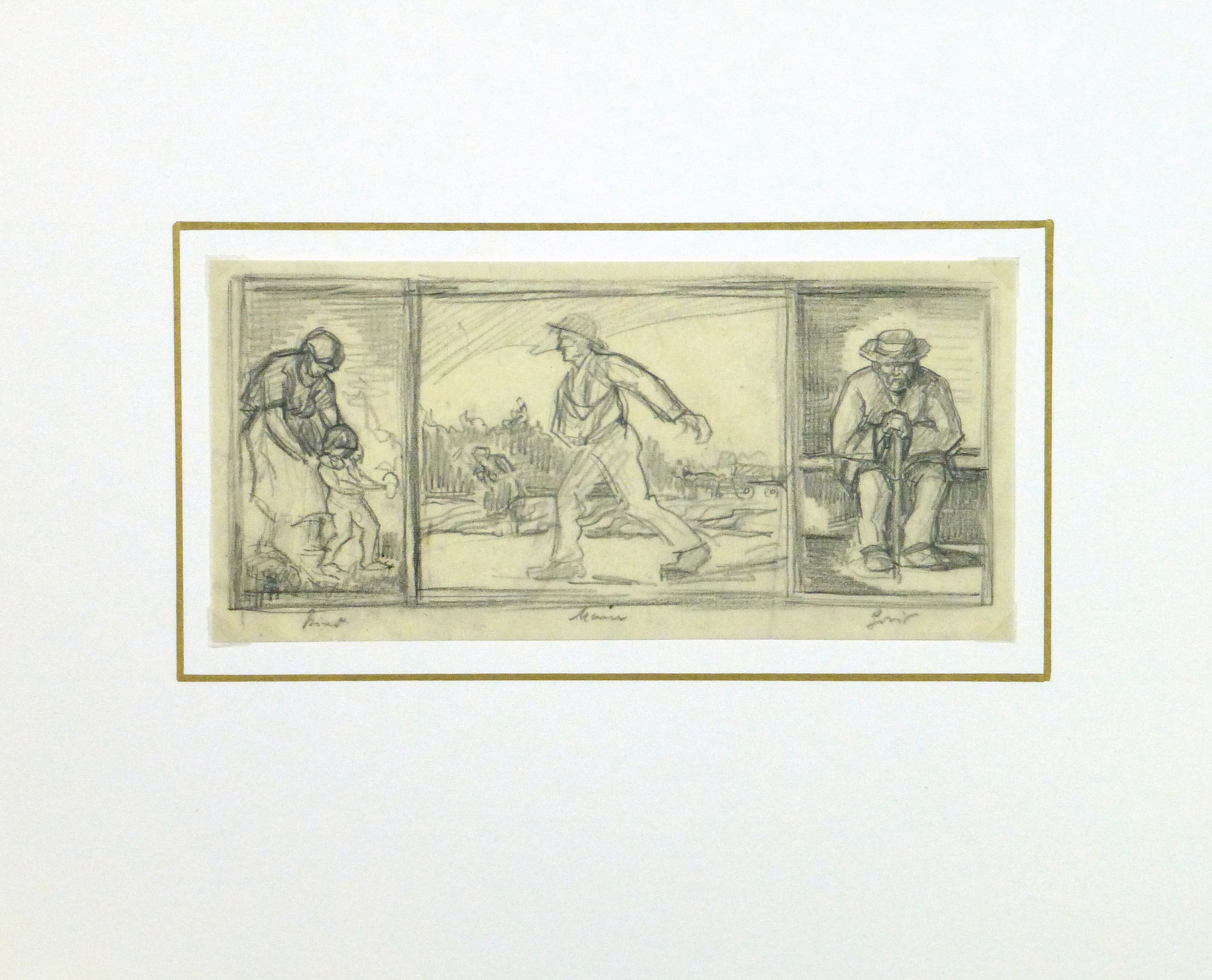 Drawing- Expressive Triptych, Circa 1930-matted-9212K