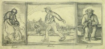 Drawing- Expressive Triptych, Circa 1930-main-9212K