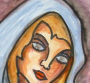 Watercolor Portrait - Fair Haired Maiden, Circa 1960-detail-9221K