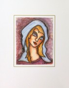Watercolor Portrait - Fair Haired Maiden, Circa 1960-matted-9221K