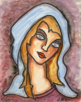 Watercolor Portrait - Fair Haired Maiden, Circa 1960-main-9221K