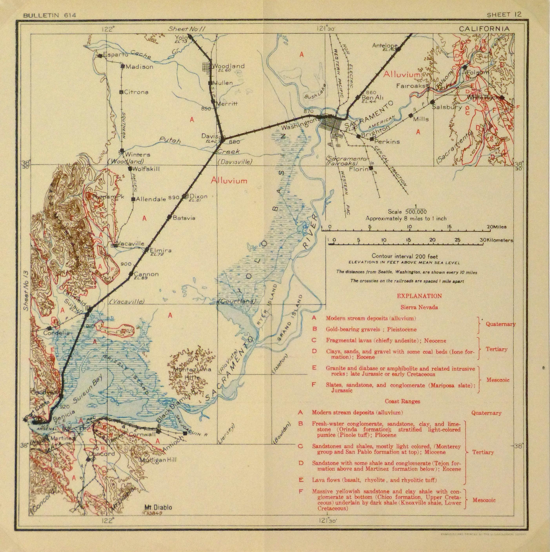 Antique Map Sacramento Valley California 1915