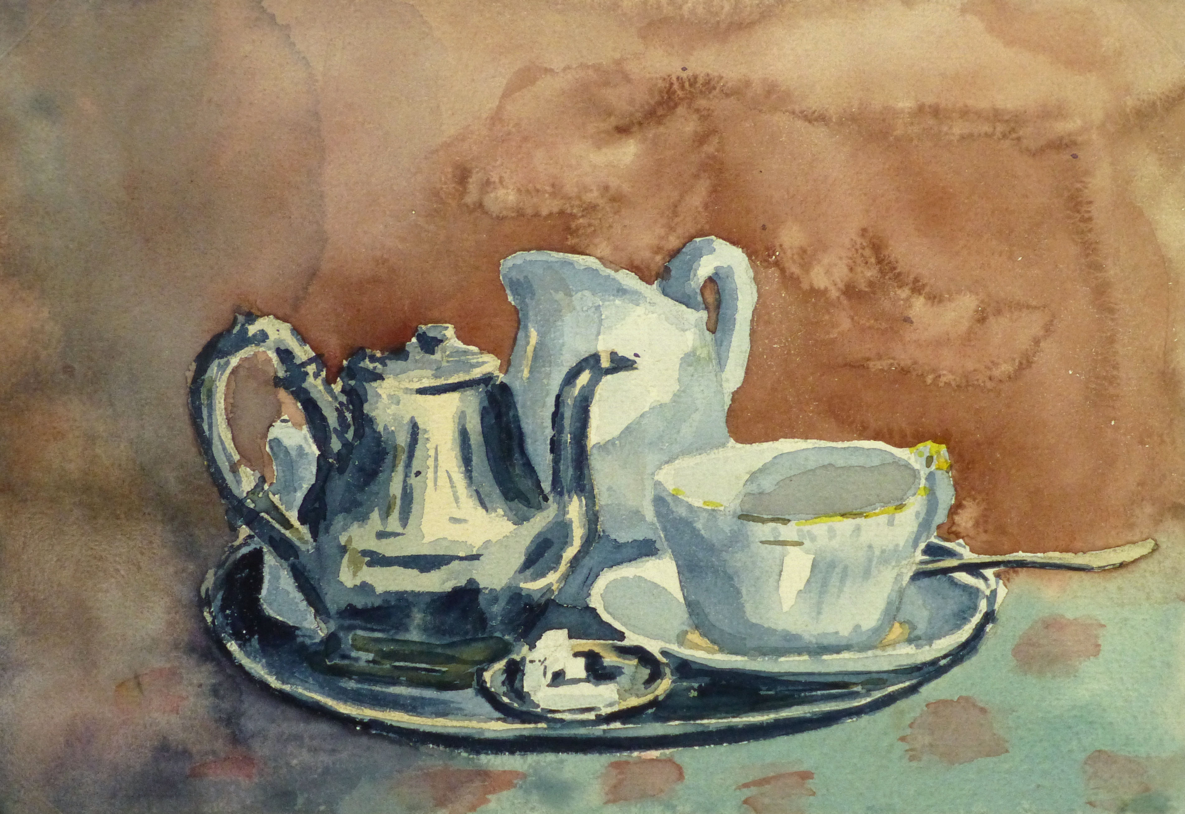 Watercolor - Tea Time, Circa 1930-main-9288K