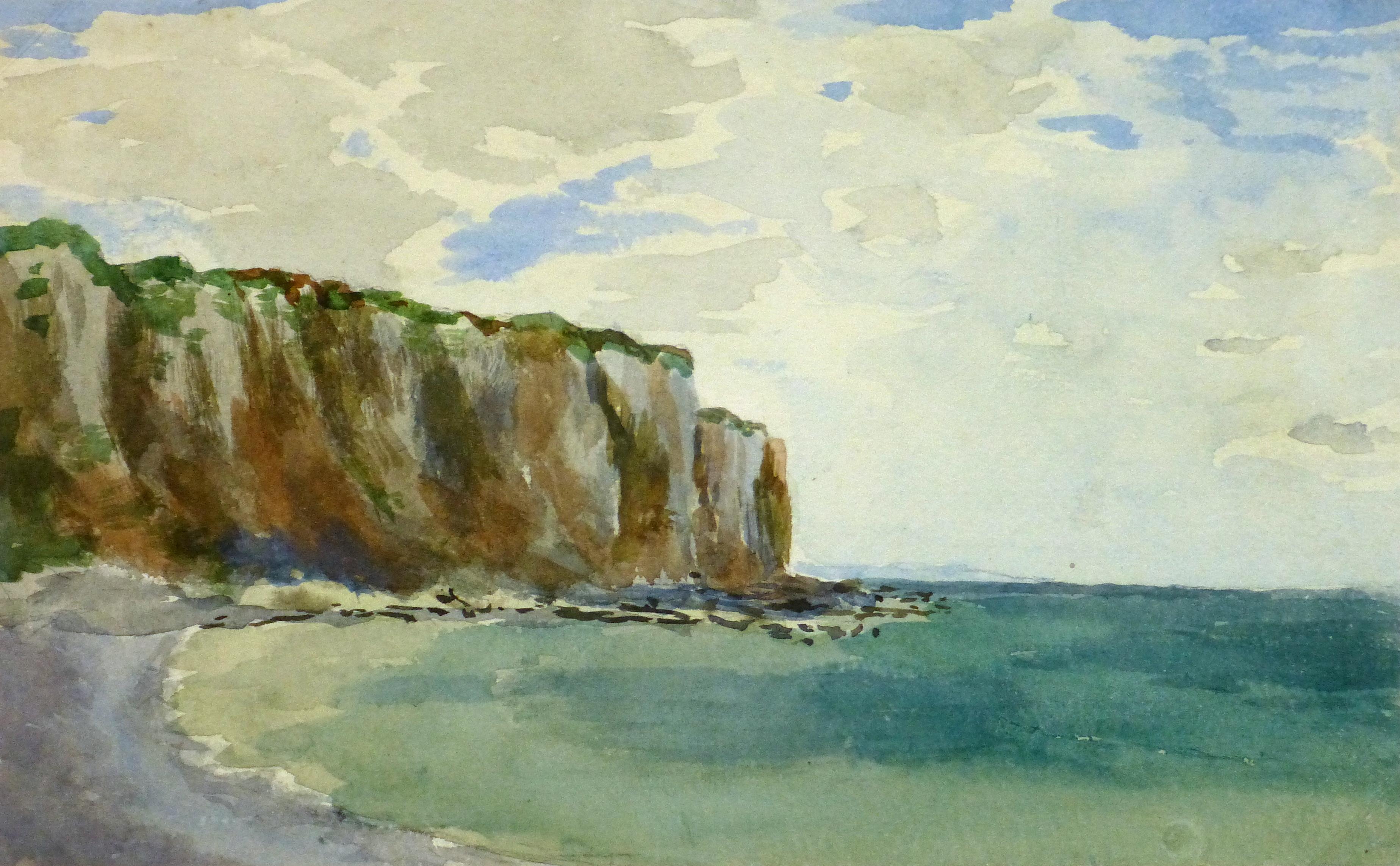 Watercolor Seascape - Falaise du Crépant, 1893-main-9290K
