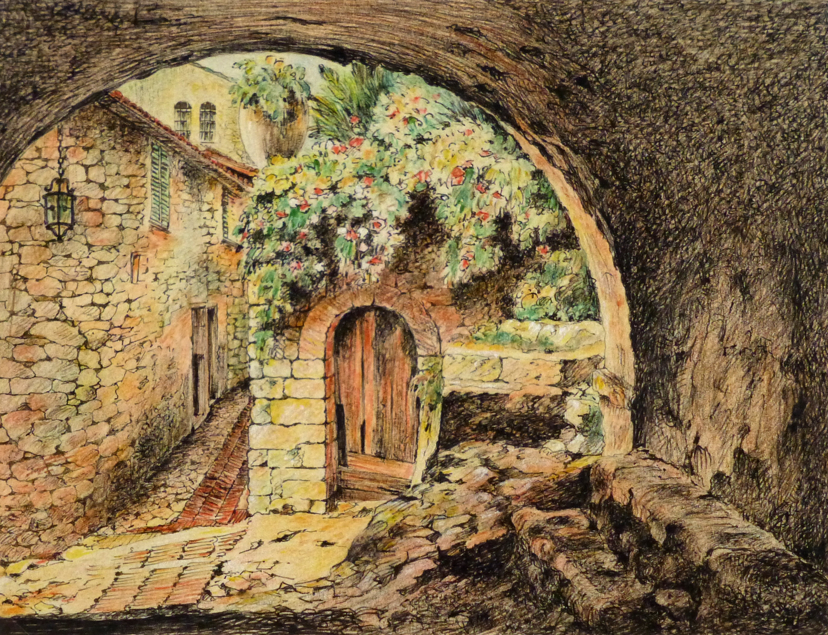 Pen & Ink Drawing - Mediterranean Town, Circa 1890-main-9291K