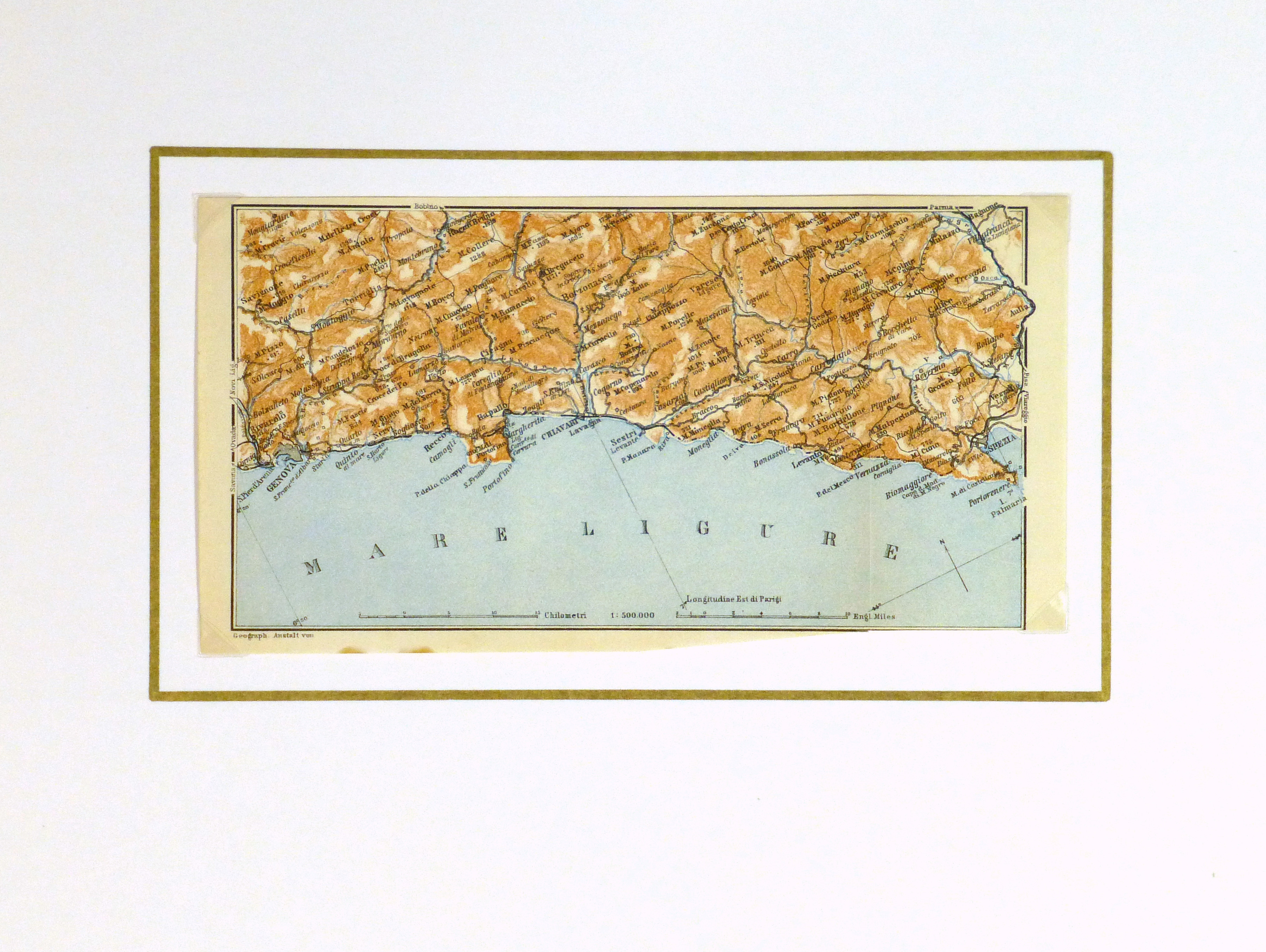 Genova & Spezia Map, 1928-matted-9343K