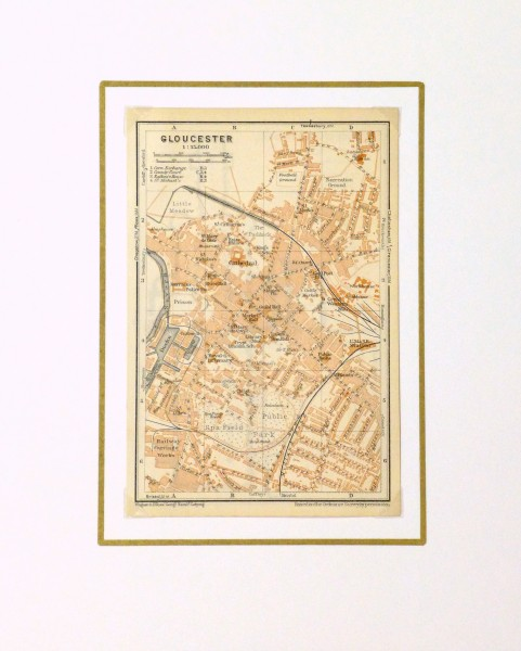 Gloucester England Map, 1927-matted-9344K