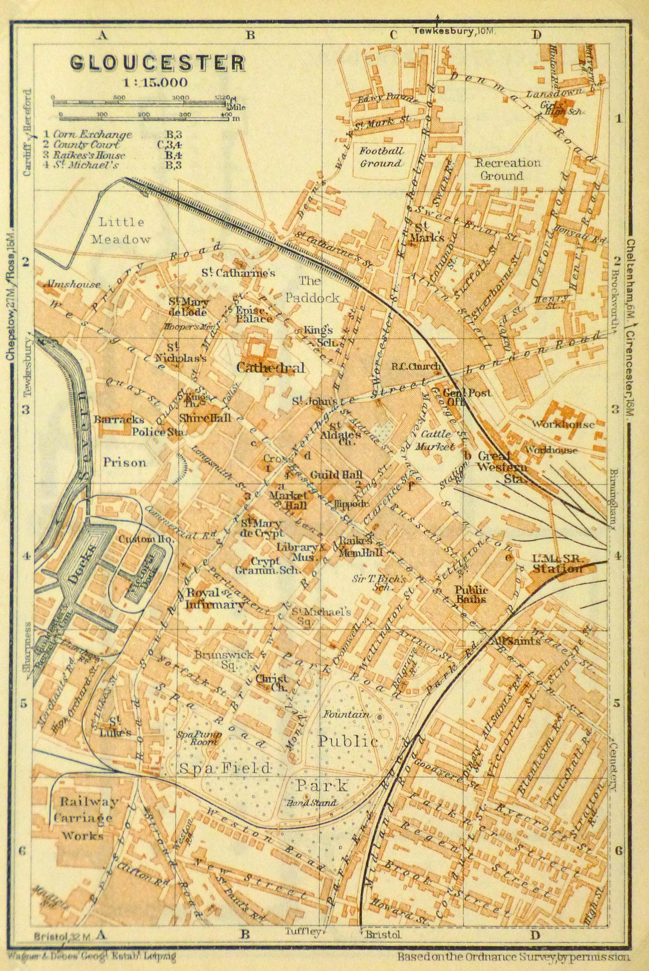 Map Of England 200.Gloucester England Map 1927 Original Art Antique Maps Prints