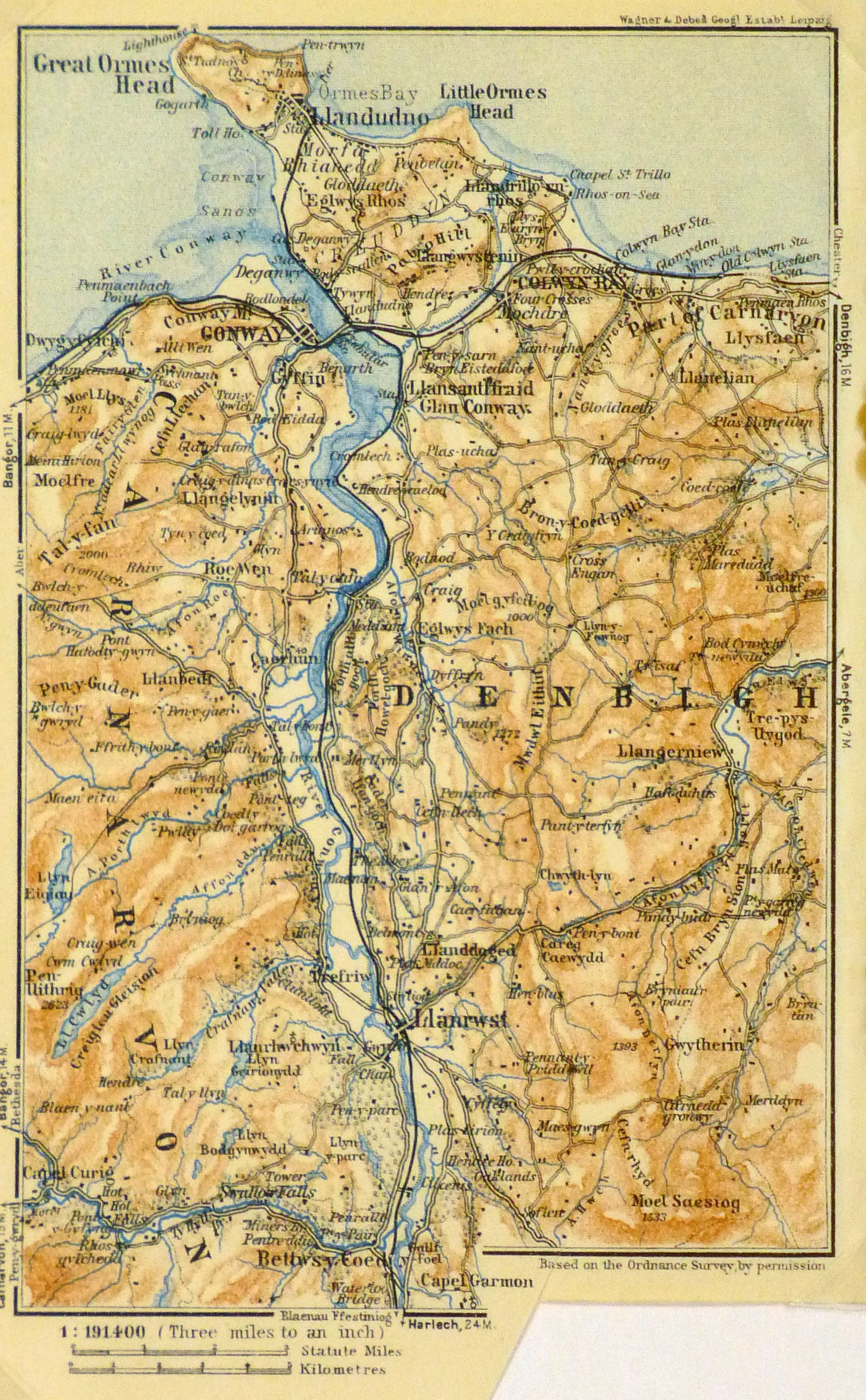 Map of River Conwy, Wales, 1927-main-9347K