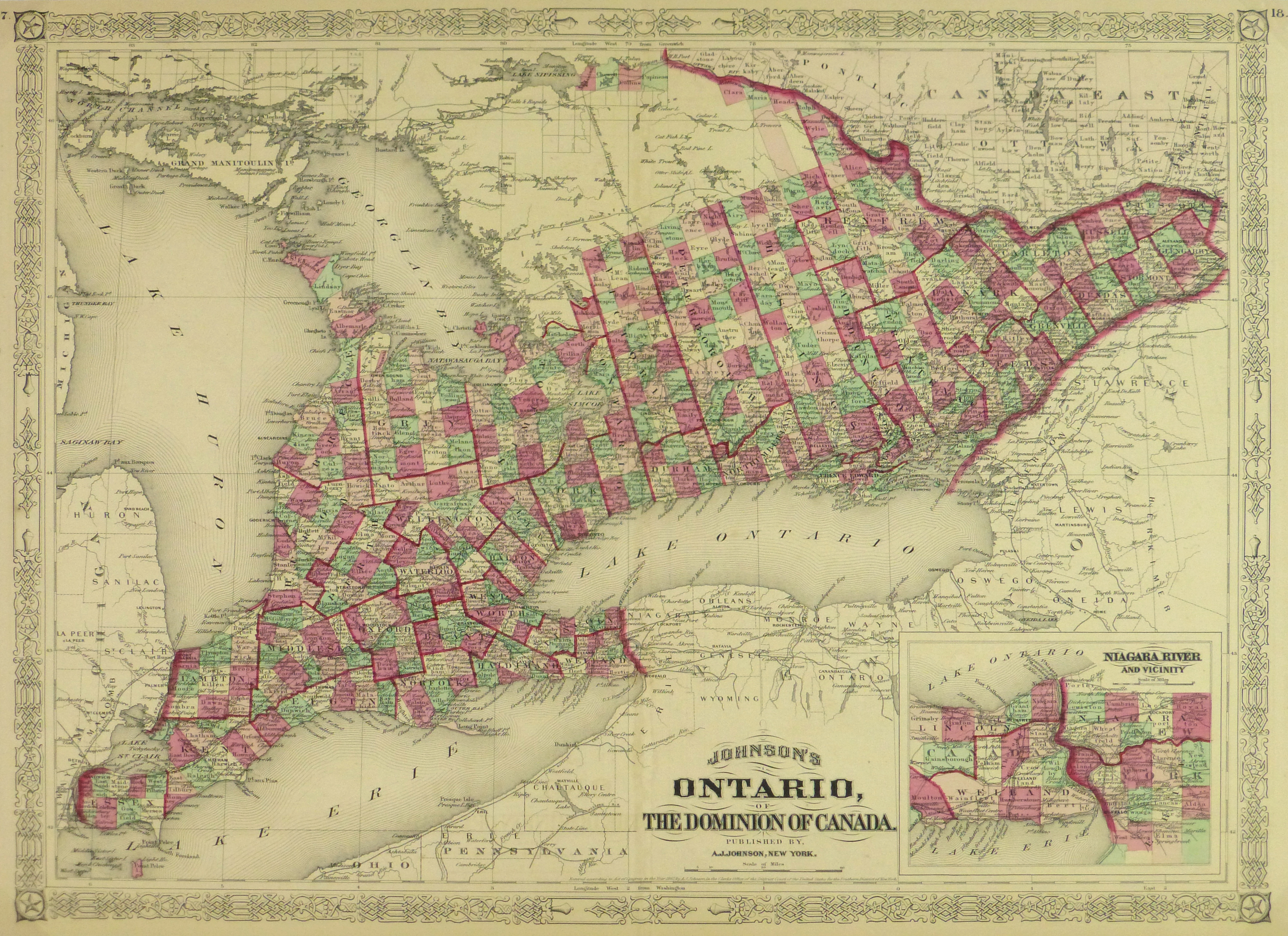 Ontario Map 1868 Original Art Antique Maps Prints