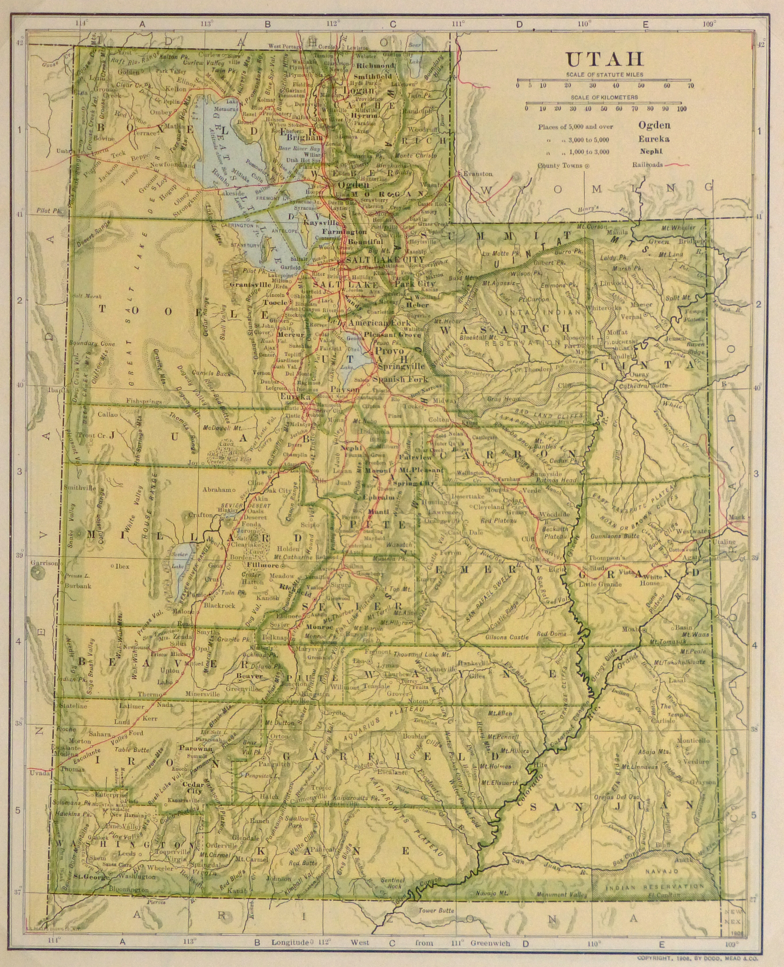 Utah Map,1906-main-9362K