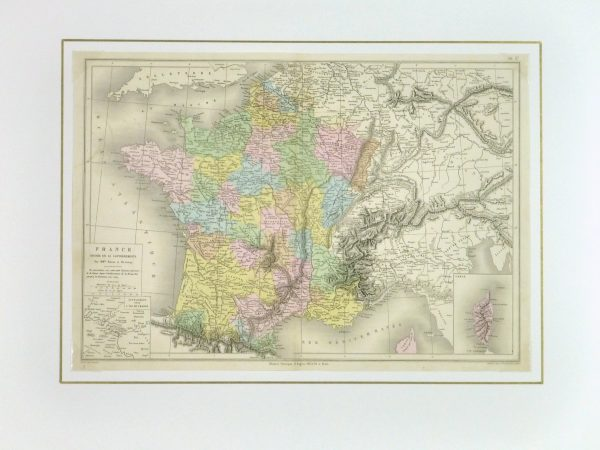 France Map, 1884-matted-9378K