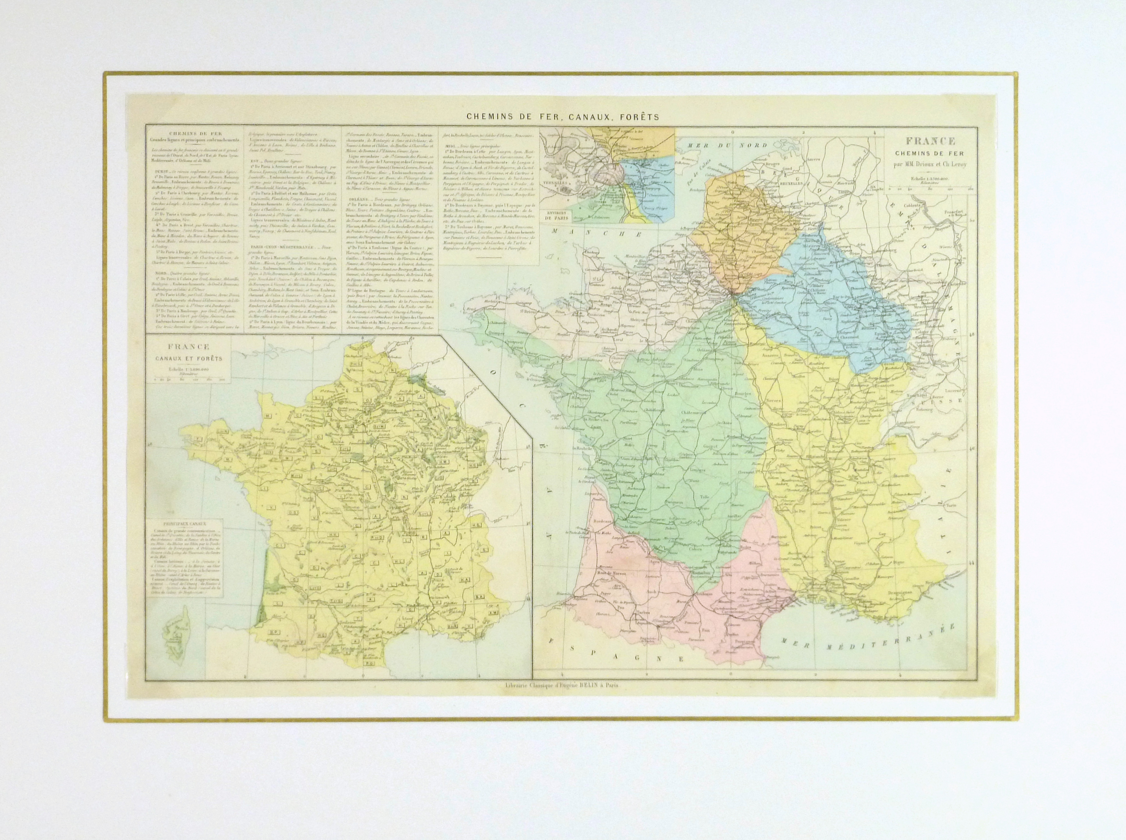 France Railways Map, 1883-matted-9379K