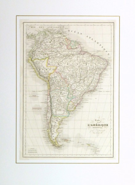 South America Map, 1843-matted-9386K