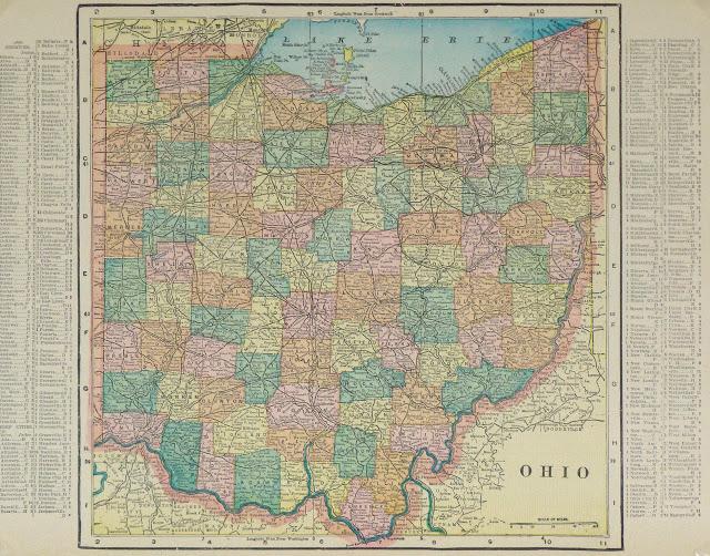 Antique Ohio Map.Antique Map Ohio 1903