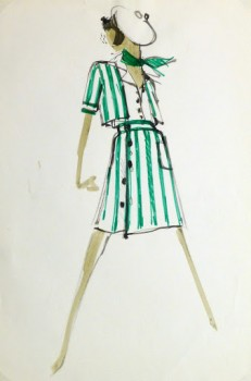 Watercolor & ink- Original Fashion Sketch, Circa 1960-main-9517K