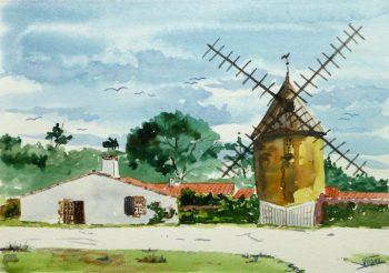 Watercolor- Bucolic Windmill, circa 2000-main-9518K