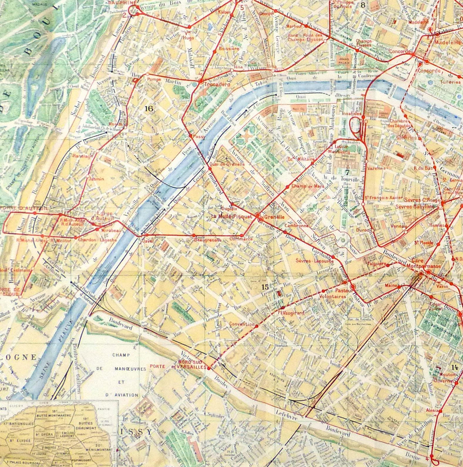 Paris Metro Map, C. 1910-detail 2-9622K