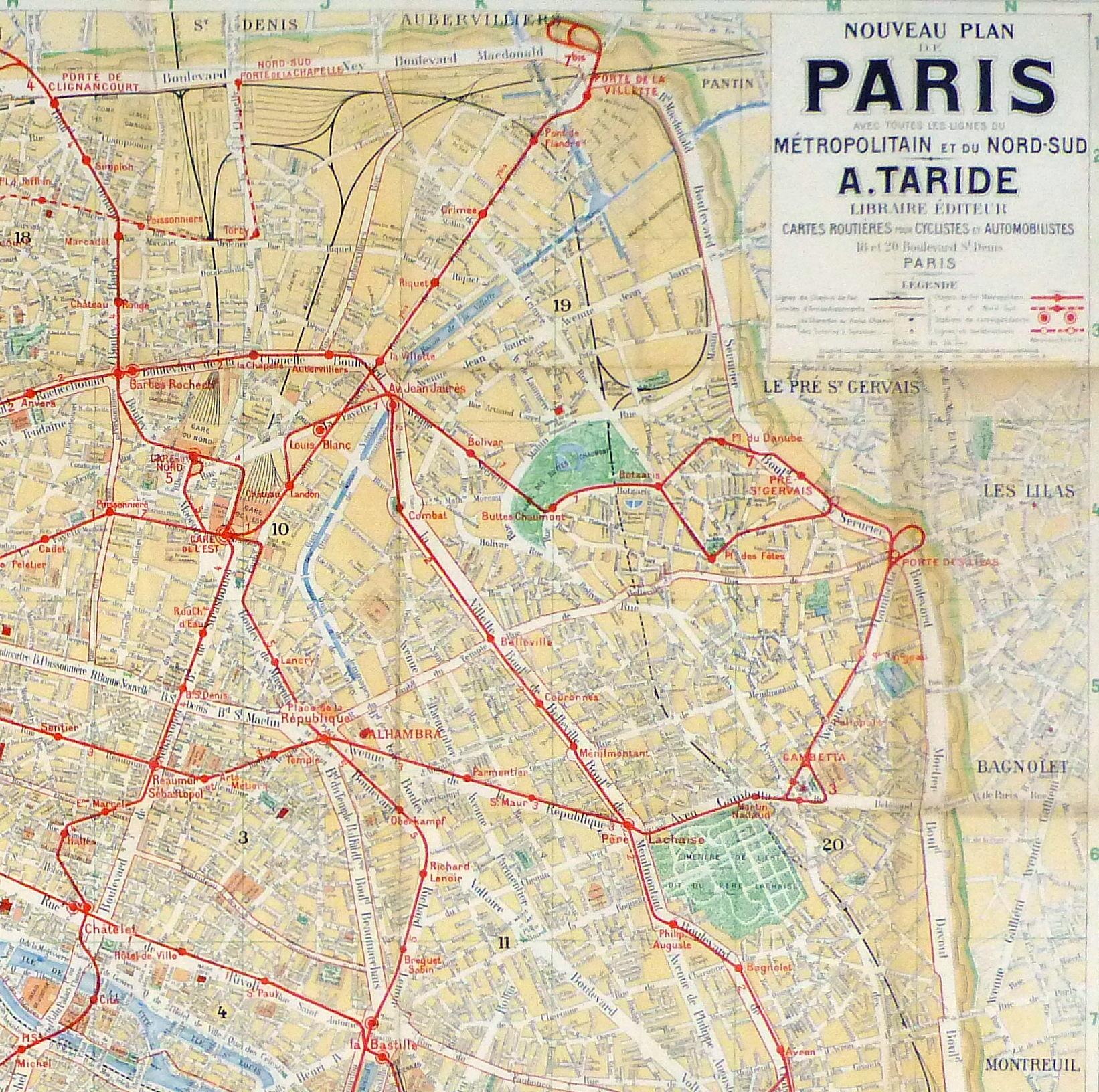 Paris Metro Map, C. 1910-detail-9622K