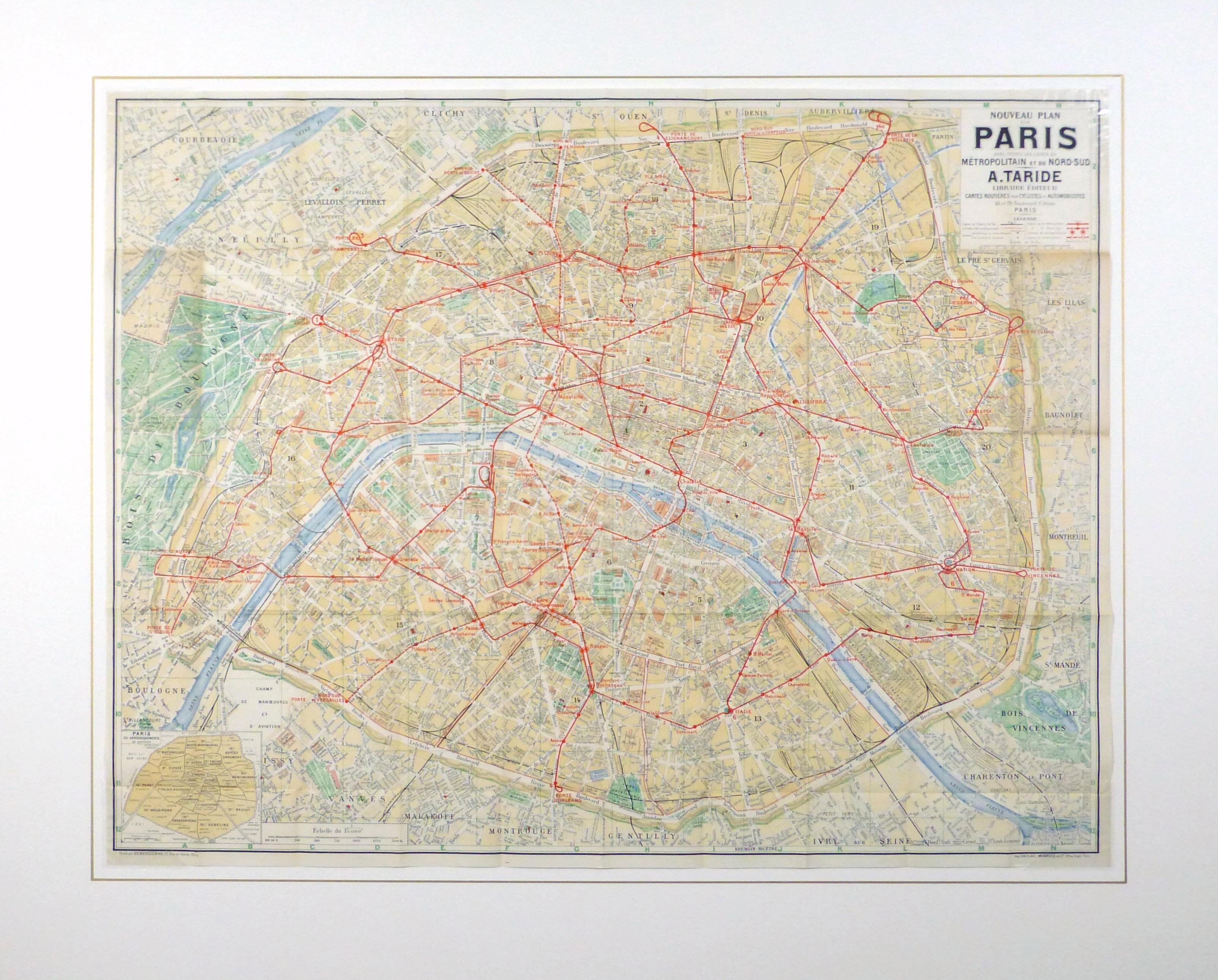 Paris Metro Map, C. 1910-matted-9622K