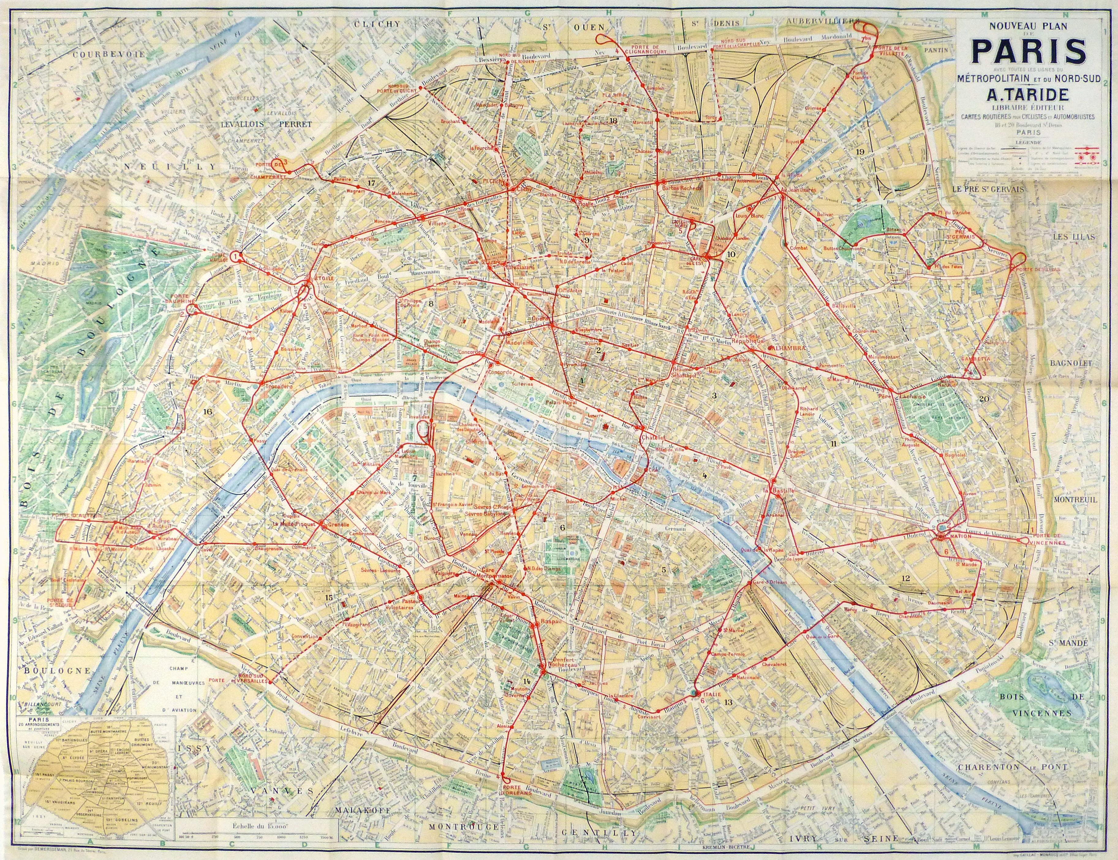 Paris Metro Map C 1910 Original Art Antique Maps Prints