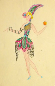 Paris Theater Fashion Sketch, circa 1930-main-9736K