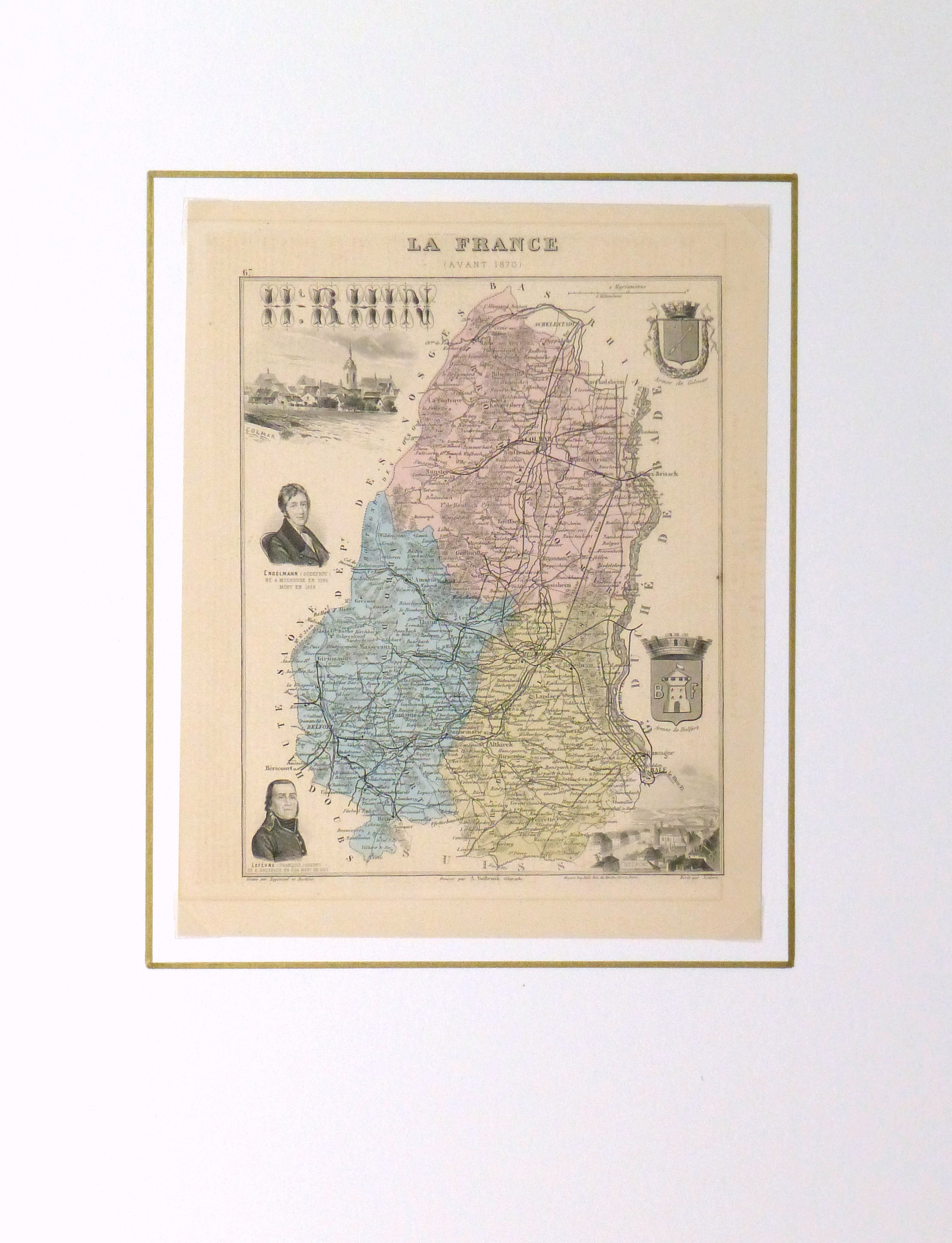 Map of France, 1876-matted-9935K