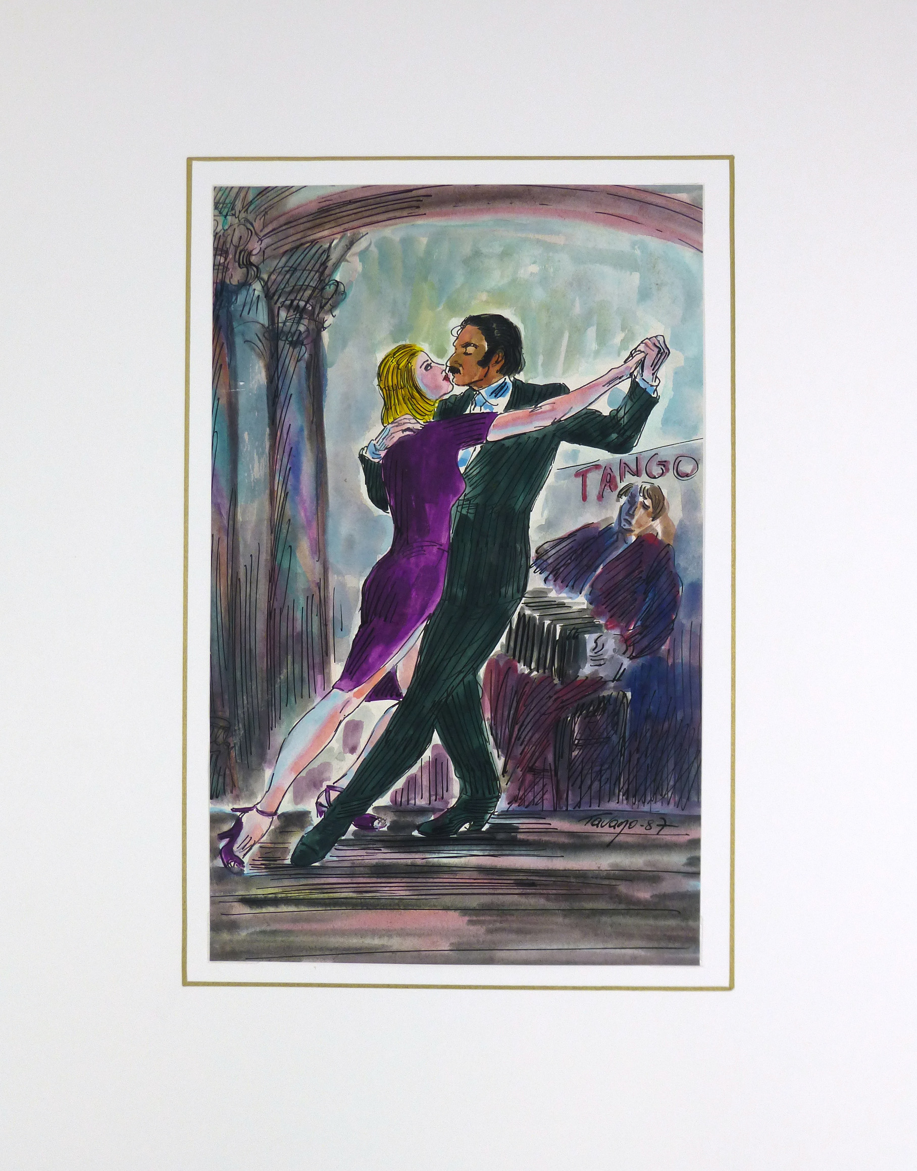 Tango Watercolor, 1987-matted-KB1379