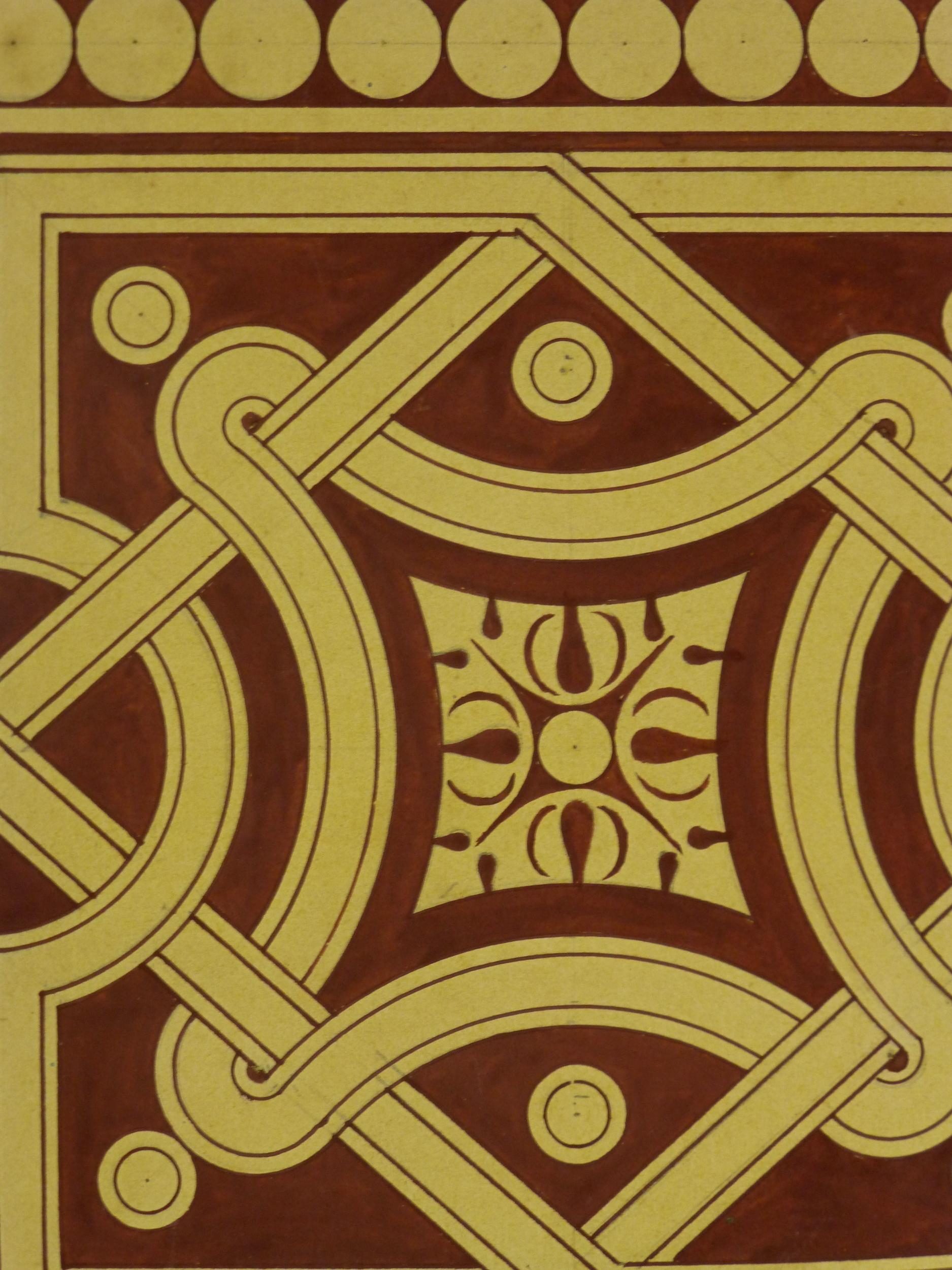 Interlocking Design Painting, Circa 1900-detail-KB1494