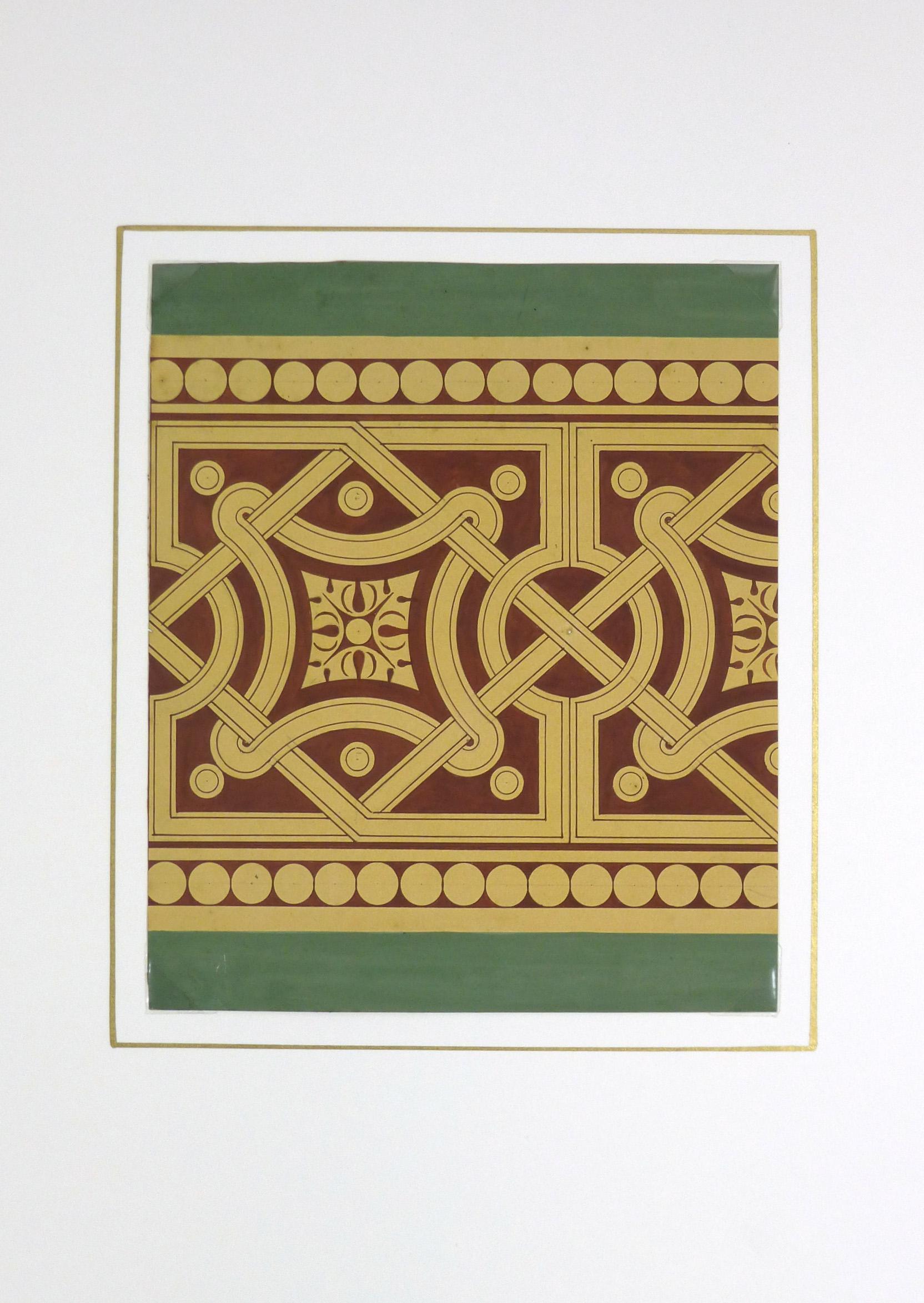 Interlocking Design Painting, Circa 1900-matted-KB1494