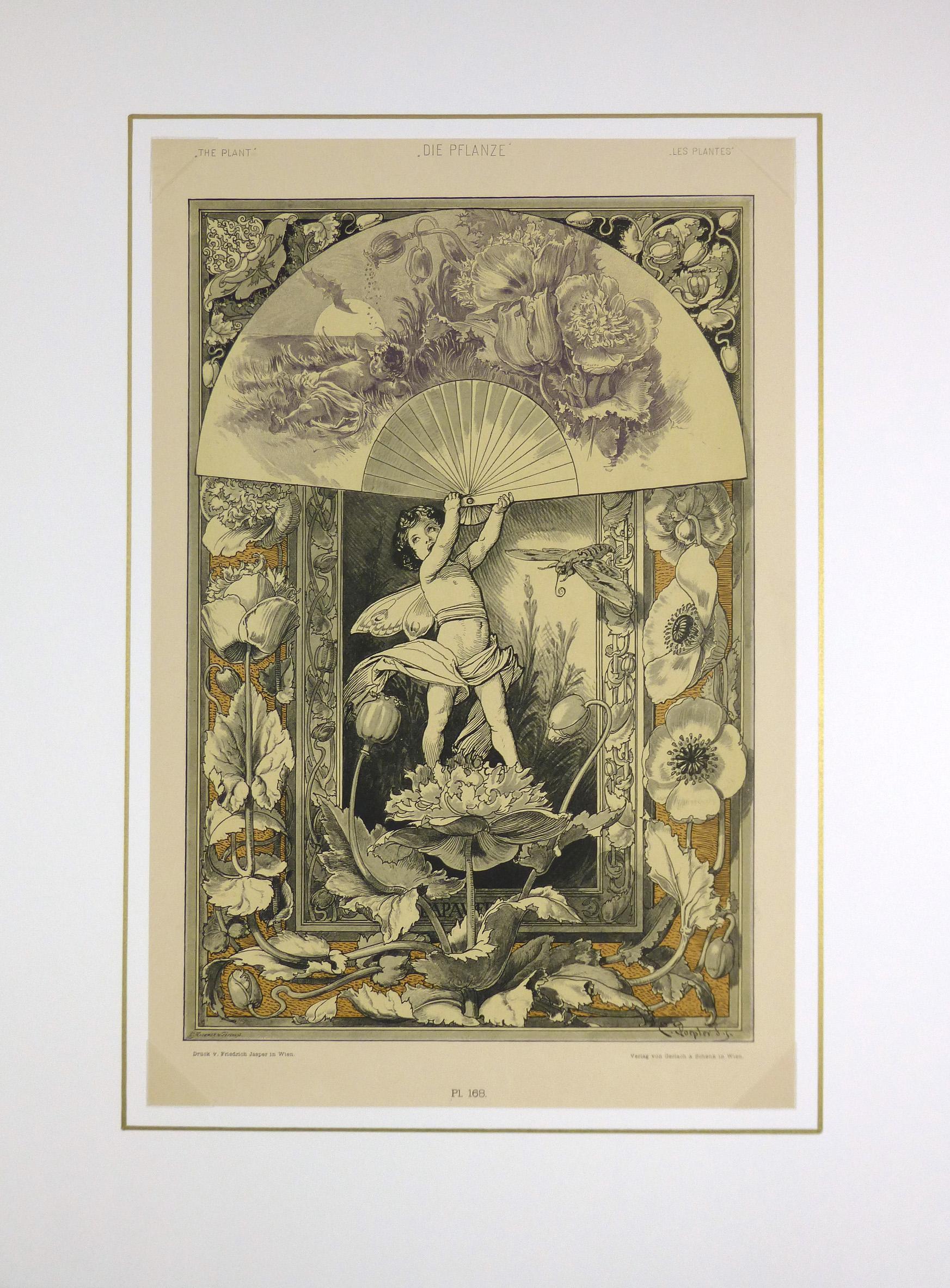 Delicate Garden Antique Print, 1886-matted-KB1651