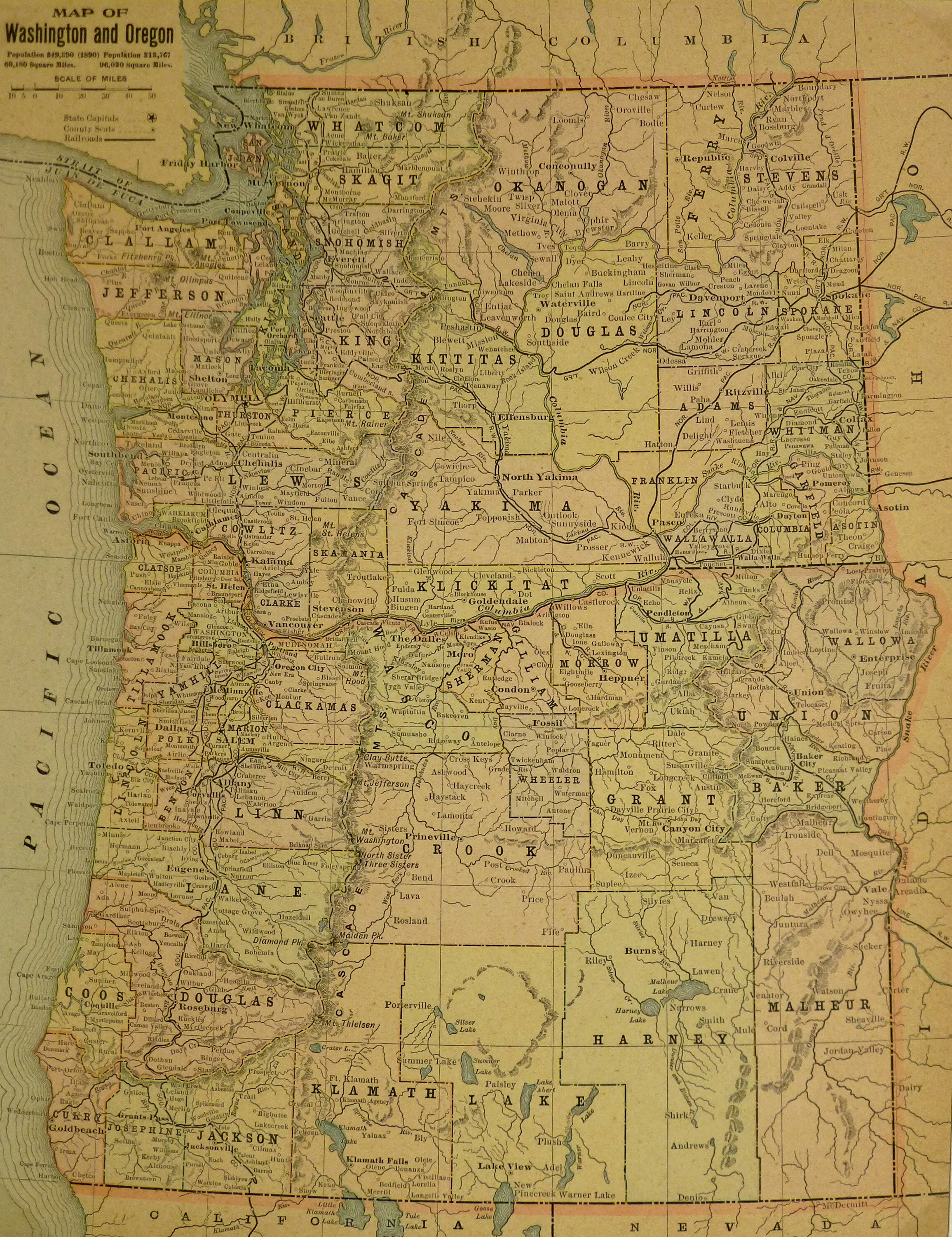 Map - Washington & Oregon, 1900-main-KB1693