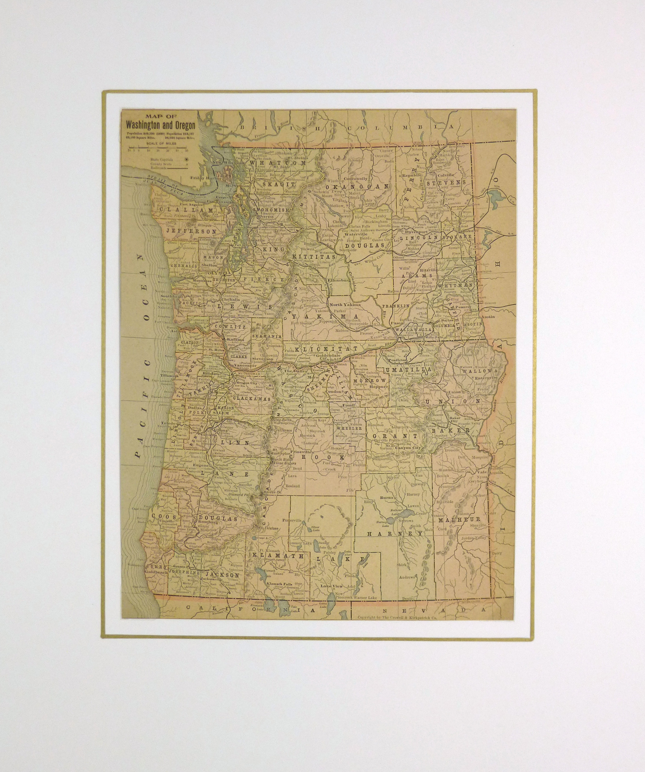 Map - Washington & Oregon, 1900-matted-KB1693