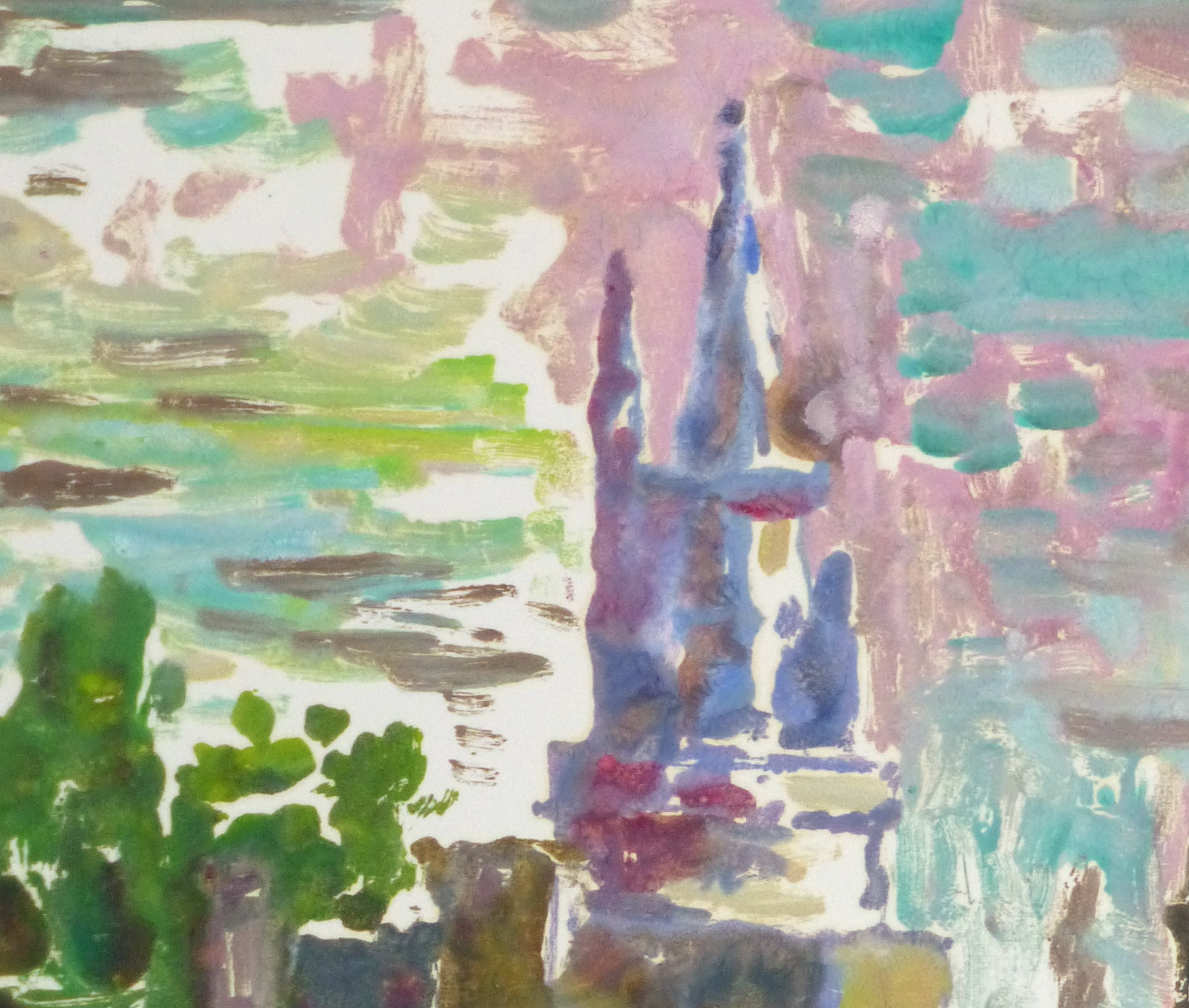 Castle Reflections Watercolor, Circa 1990-detail 2-10460M