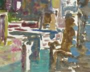 Castle Reflections Watercolor, Circa 1990-detail-10460M