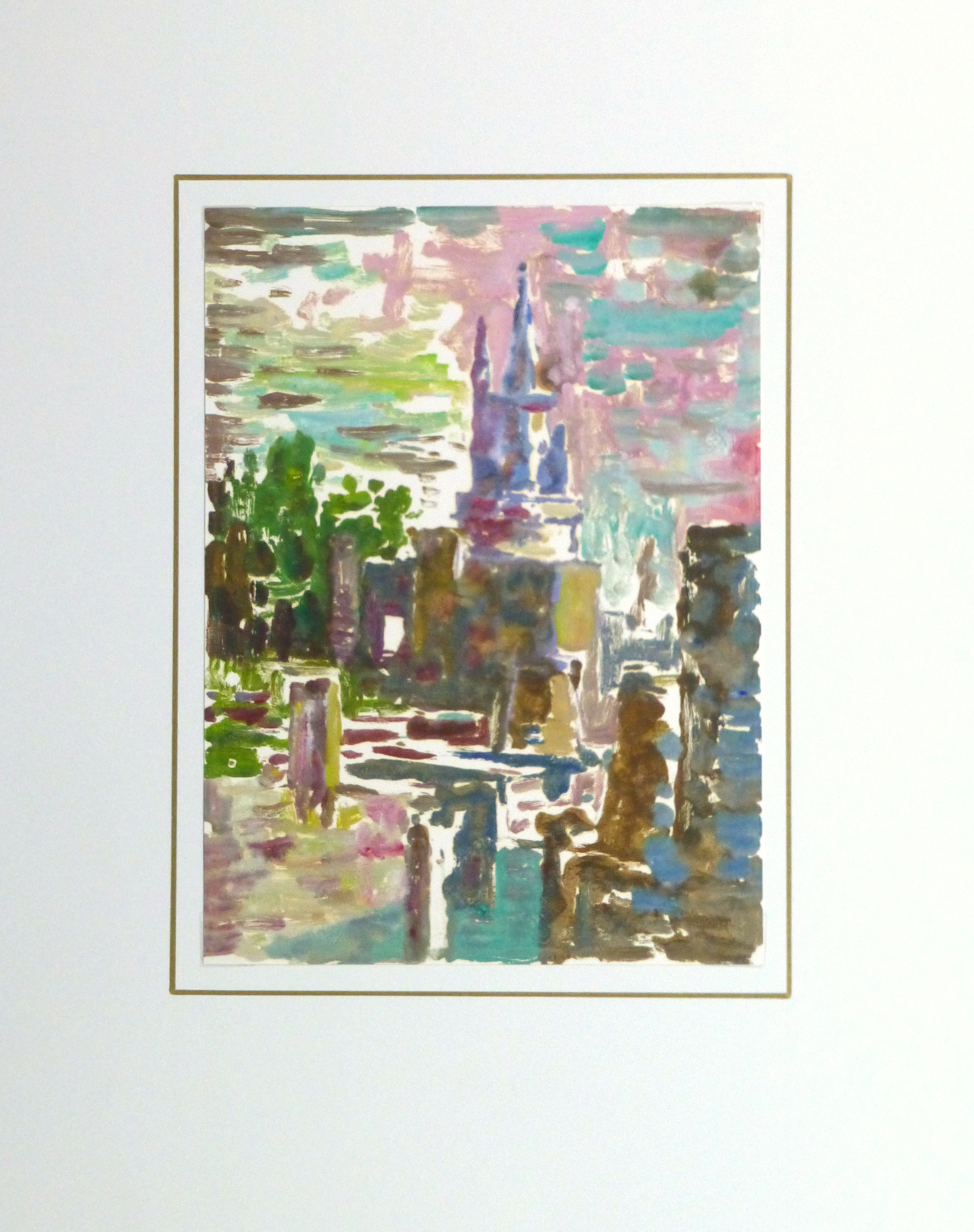 Castle Reflections Watercolor, Circa 1990-matted-10460M
