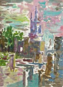 Castle Reflections Watercolor, Circa 1990-main-10460M