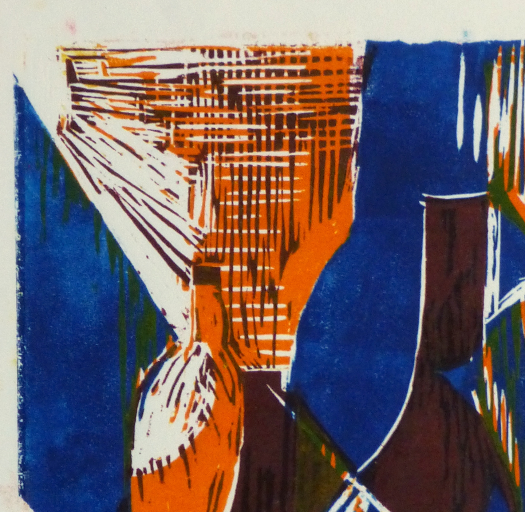 Still Life Woodcut - Vases, Circa 1970-detail 2-10461M
