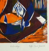 Still Life Woodcut - Vases, Circa 1970-detail-10461M