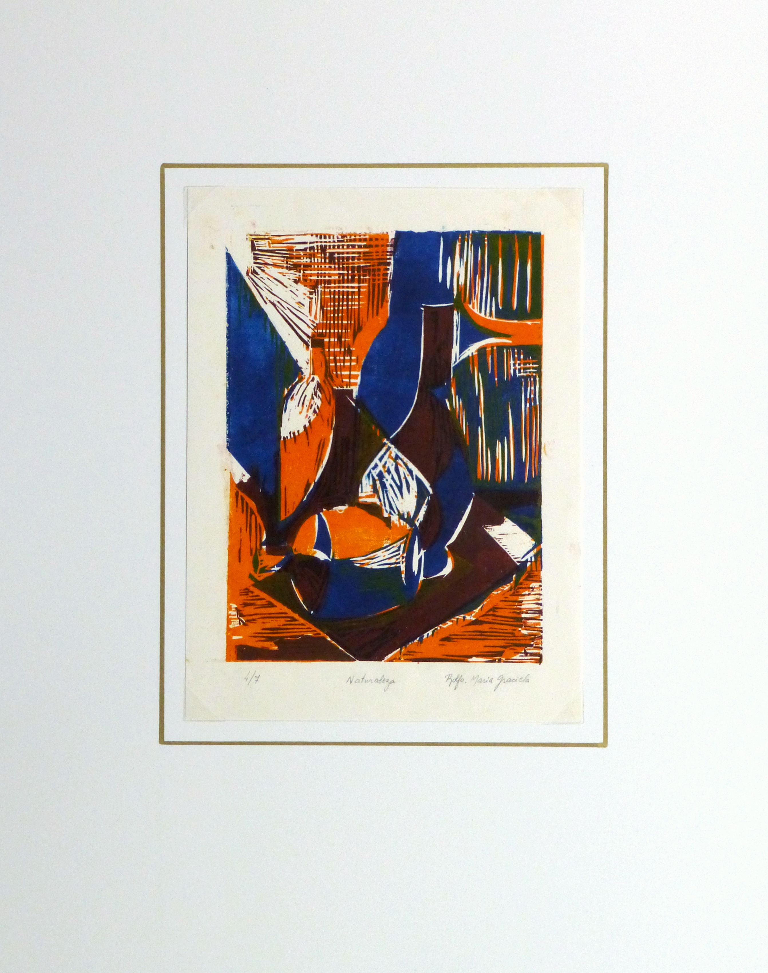 Still Life Woodcut - Vases, Circa 1970-matted-10461M
