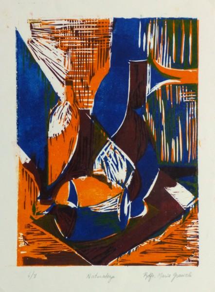 Still Life Woodcut - Vases, Circa 1970-main-10461M