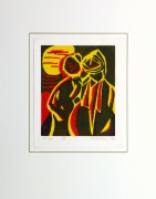 Abstract Woodcut - This Place, 1996-matted-10462M