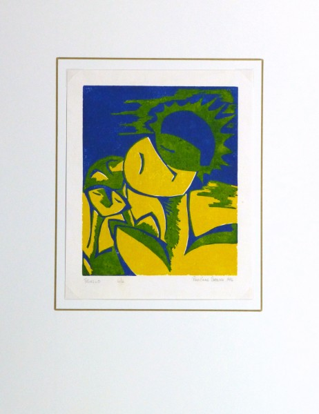 Abstract Woodcut - Trihelio II, 1996-matted-10464M