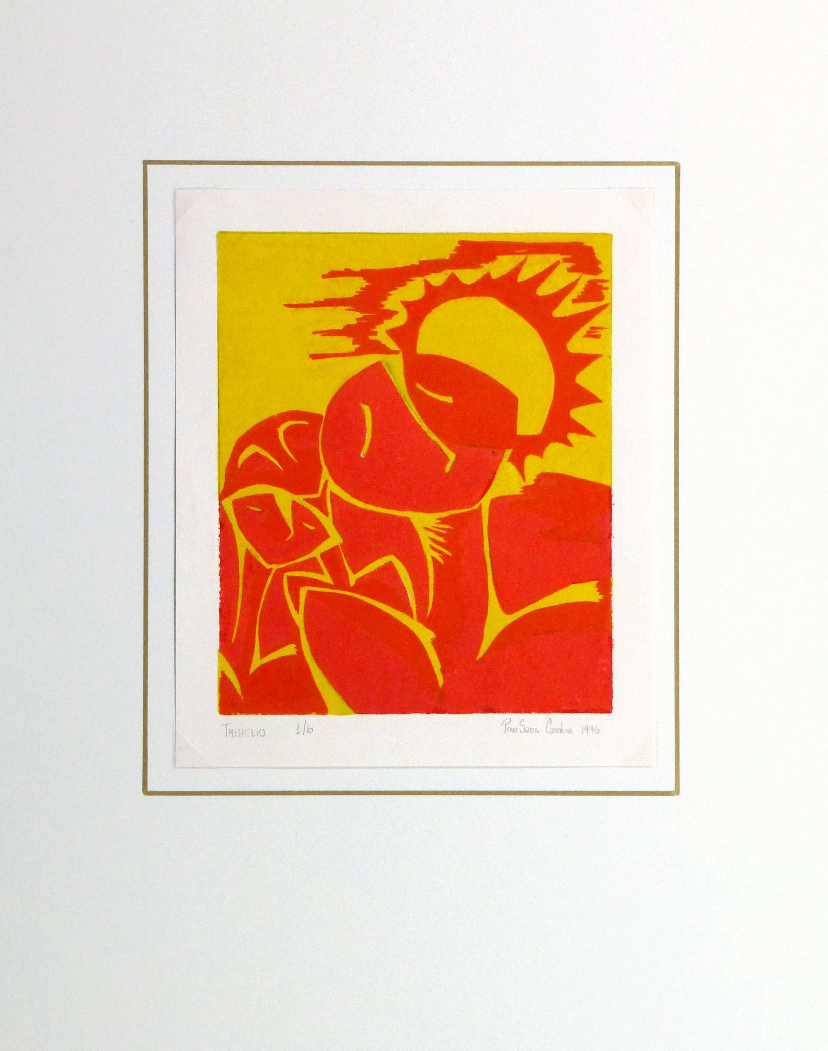 Abstract Woodcut - Trihelio III, 1996-matted-10465M