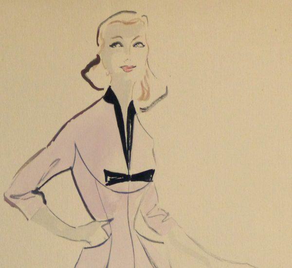 Gouache & Ink Fashion Sketch - Lavender Dress, Circa 1955-detail 2-10467M