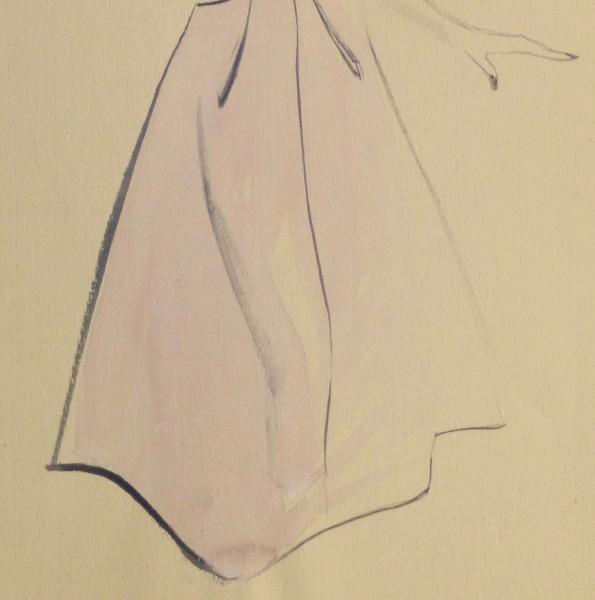 Gouache & Ink Fashion Sketch - Lavender Dress, Circa 1955-detail-10467M