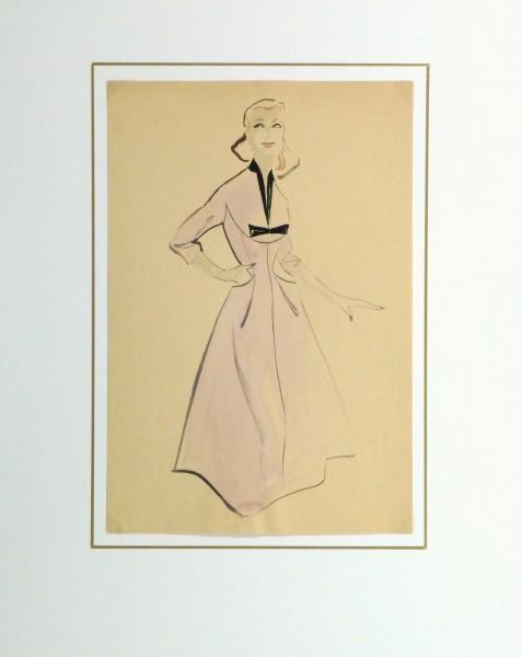 Gouache & Ink Fashion Sketch - Lavender Dress, Circa 1955-matted-10467M