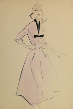 Gouache & Ink Fashion Sketch - Lavender Dress, Circa 1955-main-10467M