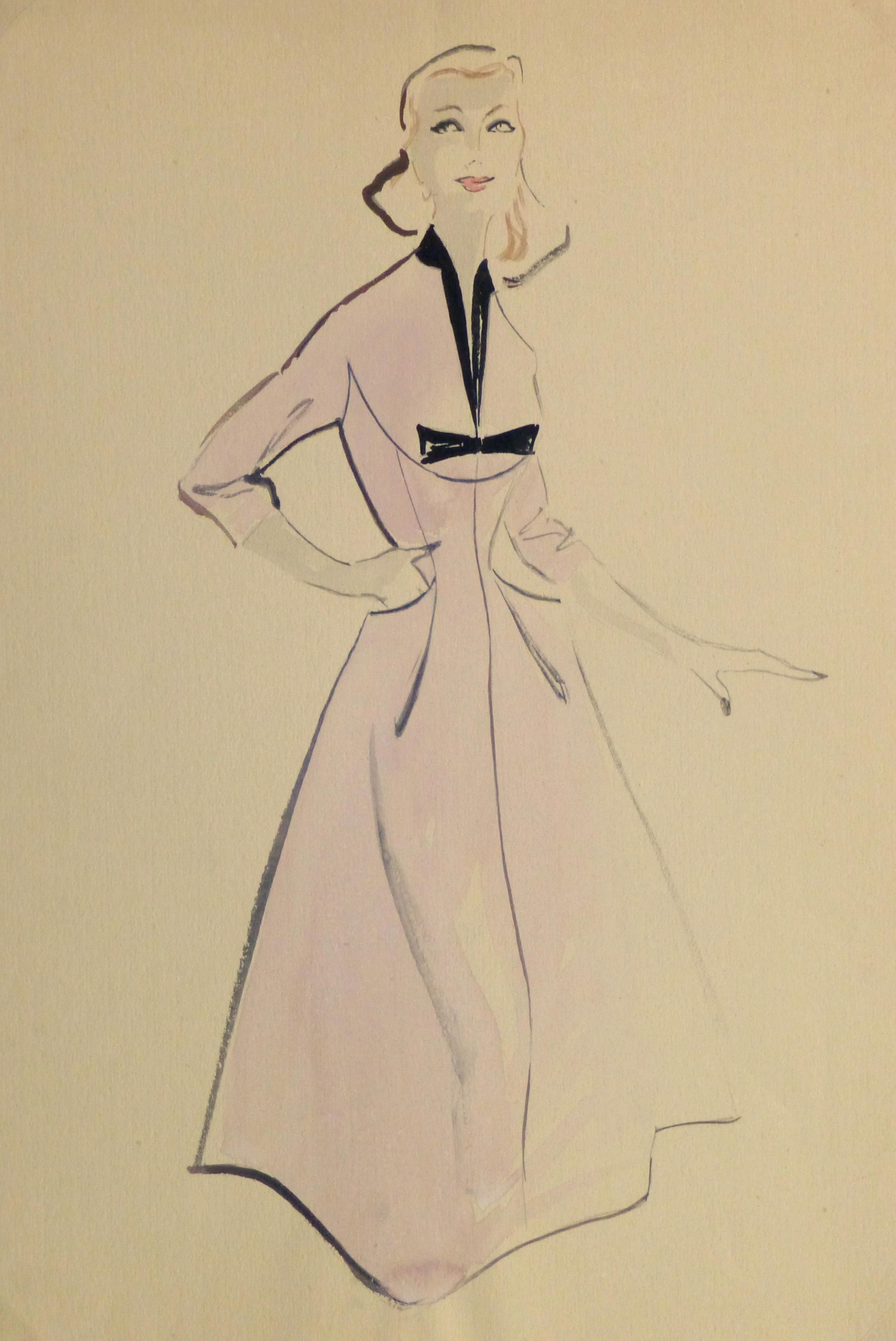 Gouache & Ink Fashion Sketch - Lavender Dress, Circa 1955-main-10467M